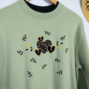 Vintage Embroidered Velvet Hearts Sweatshirt Large